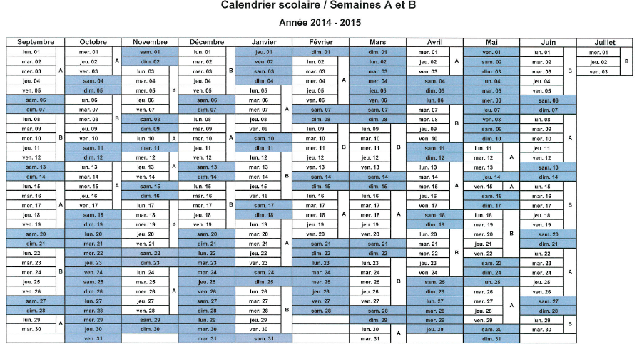 calendrier 2015 semaines